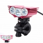 Buy ZHISHUNJIA ZSJ360-X3 2000lm 4-Mode White 3-LED Bicycle Lamp Bike Mount - Red (6 x 18650)
