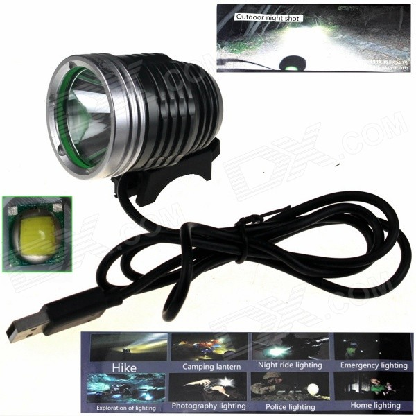 ZHISHUNJIA ZSJ-5VT6 780lm 3-Mode 3-LED White Light 5V Mobile Power USB Bike Headlamp - Silver + Grey