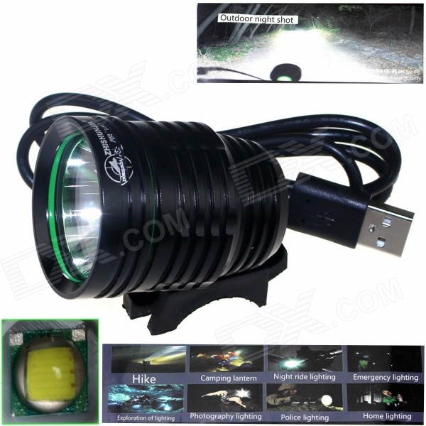 ZHISHUNJIA ZSJ-5VT6 780lm 3-Mode LED White Light 5V Mobile Power USB Bike Headlamp - Black