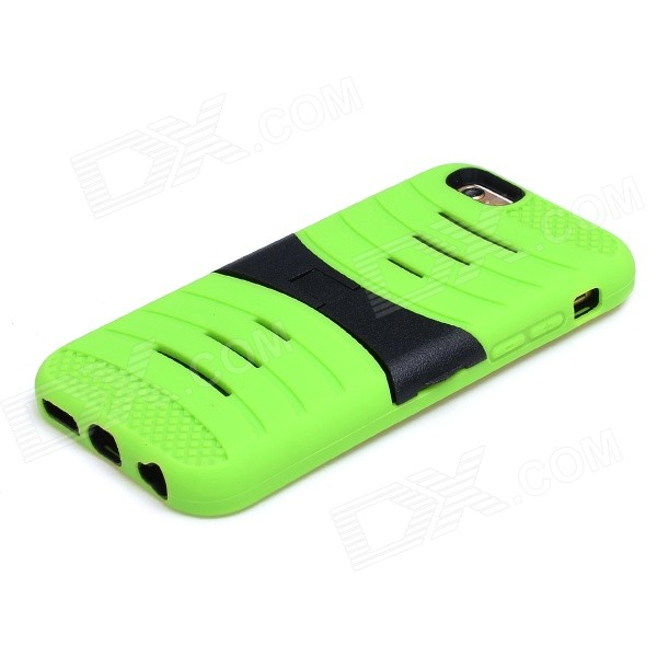 2-in-1 Protective Silicone + PC Back Case w/ 2-Stalls Holder for IPHONE 6 - Light Green + Black 2 in 1 protective silicone pc back case w holder for iphone 6 purple black