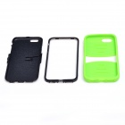 2-in-1 Protective Silicone + PC Back Case w/ 2-Stalls Holder for IPHONE 6 - Light Green + Black
