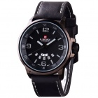 Men's Military Style PU Leather Band Quartz Analog Watch w/ Calendar - Black + Grey (1 x SR626SW)