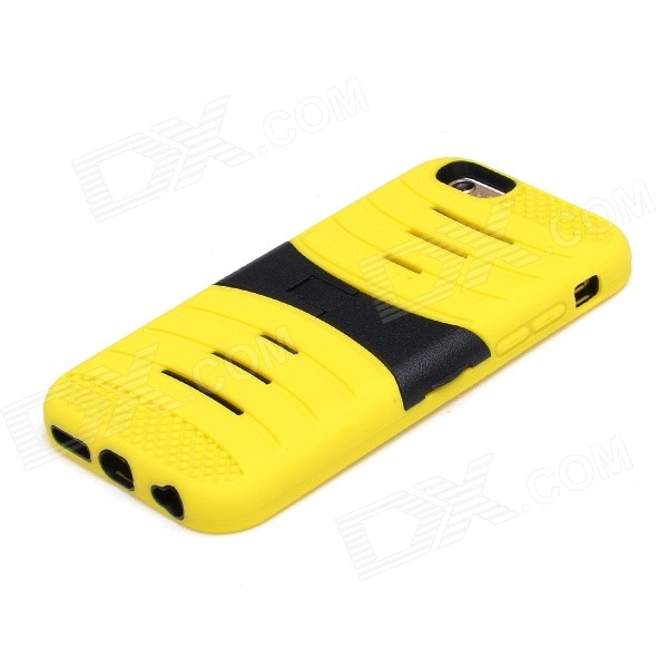 2-in-1 Protective Silicone + PC Back Case w/ 2-Stalls Holder for IPHONE 6 - Yellow + Black 2 in 1 protective silicone pc back case w holder for iphone 6 purple black