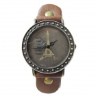 Eiffel Tower Patterned Split Leather Band Analog Quartz Wrist Watch - Brown + Bronze (1 x AG4)