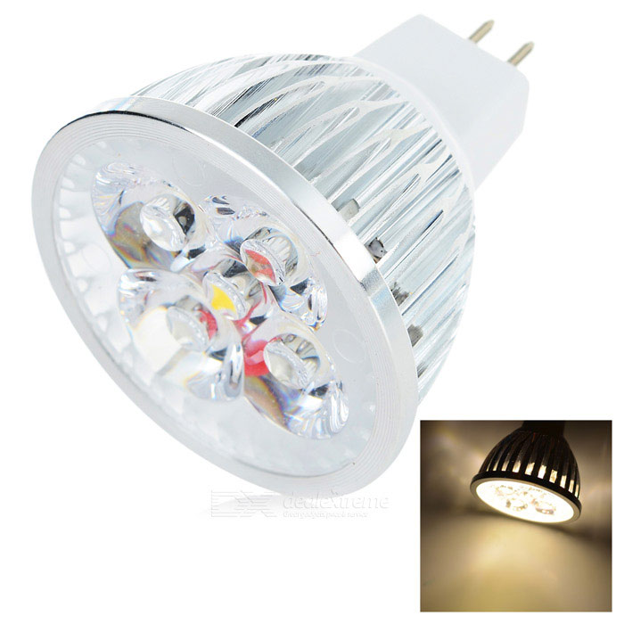 GU5.3 5W 380lm 3000K COB LED Warm White Light Spotlight - White + Silver (DC 12V)MR16<br>Form  ColorWhite + SilverColor BINWarm WhiteMaterialPCQuantity1 DX.PCM.Model.AttributeModel.UnitPower5WRated VoltageOthers,12 DX.PCM.Model.AttributeModel.UnitConnector TypeOthers,GU5.3Emitter TypeCOBTotal Emitters4Actual Lumens380 DX.PCM.Model.AttributeModel.UnitColor Temperature3000KDimmableNoBeam AngleN/A DX.PCM.Model.AttributeModel.UnitPacking List1 x Spotlight<br>