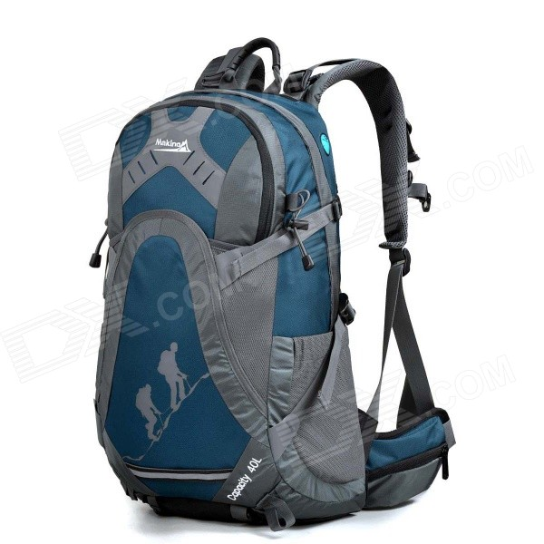 MAKINO MBB5435 Water-resistant Chinlon Outdoor Hiking Backpack w/ Raincover - Blue (40L)