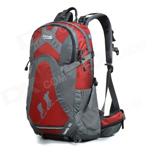 MAKINO MBB5435 Water-resistant Chinlon Outdoor Hiking Backpack w/ Raincover - Red (40L)