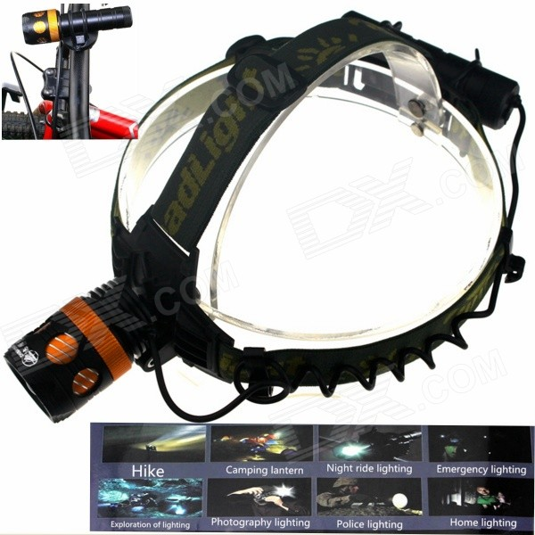 ZHISHUNJIA KL244 900lm 3-Mode Mekanisk Zoom LED hodelykt / Bike Light / lommelykt - svart