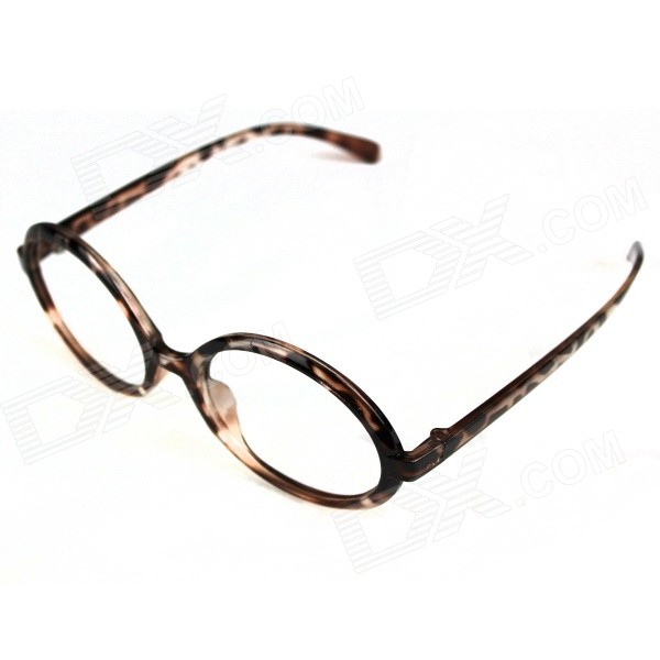 Naisten Leopard Style Circular Glasses Frame - Translucent Coffee