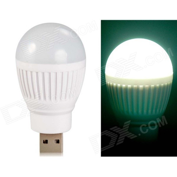 Ball Bulb Shaped Super Bright USB Powered Mini LED Night Light - WhiteUSB Lights<br>Form  ColorWhiteModeln/aQuantity1 DX.PCM.Model.AttributeModel.UnitMaterialPlasticShade Of ColorWhiteLight ColorwhiteLED Qty4LED Type5730Light Mode1Powered ByUSBLumens400 DX.PCM.Model.AttributeModel.UnitSnake Cable Length5 DX.PCM.Model.AttributeModel.UnitPower0.8 DX.PCM.Model.AttributeModel.UnitOther FeaturesThis mini night light is creatively ball bulb designed, which is powered via USB. It is great for both indoor and outdoor use. Plug and play, convenient and easy to use. Super bright with low power consumption. Lightweight for ease of carrying.Packing List1 x Night Light<br>