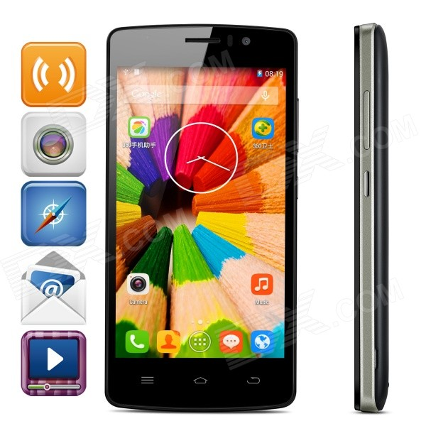 THL 4000 4.7 IPS Quad-Core Android 4.4.2 3G WCDMA Smart Phone w/ 1GB RAM, 8GB ROM - Black zopo zp1000 android 4 2 octa core wcdma bar phone w 5 0 screen wi fi and rom 16gb blue black