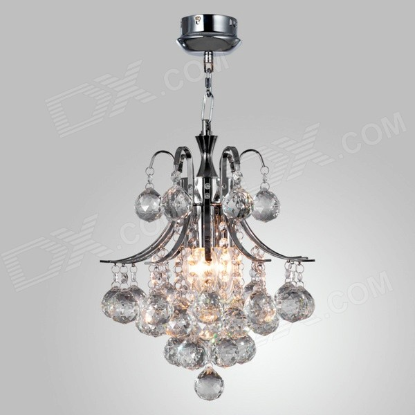 WG-8364 E14 Base Holder 3-Light Crystal Chandelier Ceiling Lamp - Silver