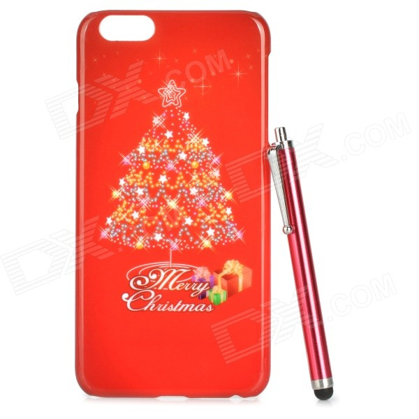 Christmas Tree Pattern Protective PC Back Case w/ Stylus Pen for IPHONE 6 PLUS - Red elegance tpu pc hybrid back case with kickstand for iphone 7 plus 5 5 inch red