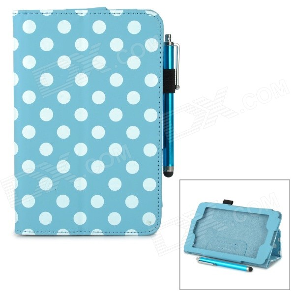 Polka Dot Pattern Stylish PU Flip Open Case w/ Stylus Pen for Kindle Fire HD 6 - Light Blue + White hls 002 chinese style c tone cucurbit flute brown wood color