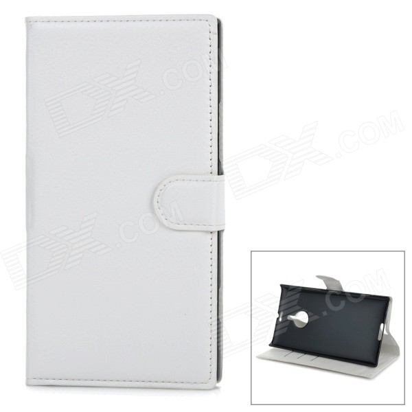 Protective Flip-Open PU Leather Cover Case w/ Stand / Card Slots for Nokia Lumia 1520 - White glossy leather wallet stand cover with 5 card slots for iphone 7 4 7 white