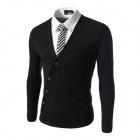 Men's Fashionable Unique Inclined Placket Design Pure Color Knitted Sweater Knitwear - Black (L)
