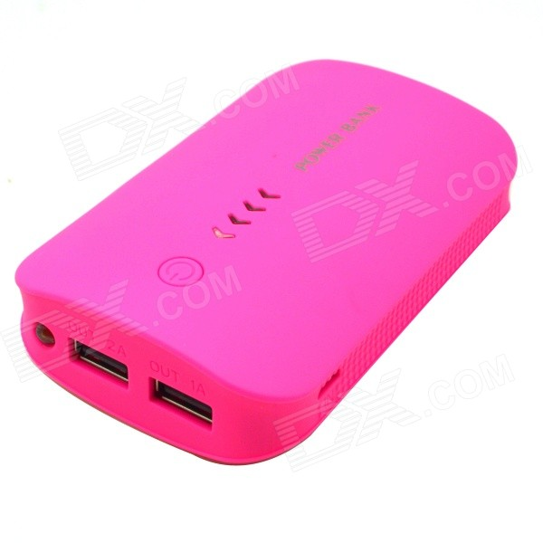 Universal 8800mAh External Li-ion Battery Charger Power Bank w/ LED Flashlight - Pink xiaomi universal 10400mah usb li ion battery power bank w 4 led indicators deep pink