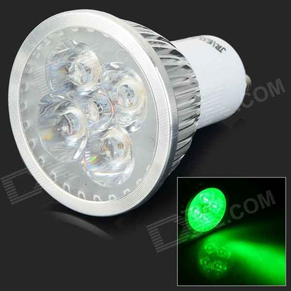 JRLED GU10 4W 200LM 530nm 4-LED Green Light Spotlight - белый + серебристый (AC 100 ~ 240 В)