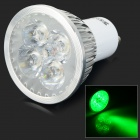 JRLED GU10 4W 200lm 530nm 4-LED Green Light Spotlight - White + Silver (AC 100~240V)