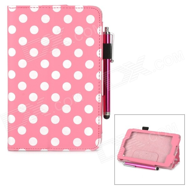 Polka Dot Pattern Stylish PU Flip Open Case w/ Stylus Pen for Kindle Fire HD 6 - Light Pink + White for amazon 2017 new kindle fire hd 8 armor shockproof hybrid heavy duty protective stand cover case for kindle fire hd8 2017