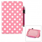 Polka Dot Pattern Stylish PU Flip Open Case w/ Stylus Pen for Kindle Fire HD 6 - Light Pink + White