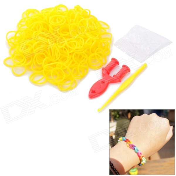 DIY Educational Silicone Rubber Band Bracelet for Children - Yellow (300 PCS) glow in the dark diy educational silicone rubber band for children yellow green 300 pcs