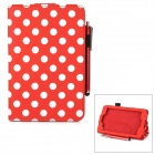 Polka Dot Pattern Stylish PU Flip Open Case w/ Stylus Pen for Kindle Fire HD 6 - Red + White