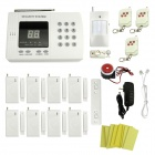 99-Zone Wireless PSTN Home Security Voice Alarm System w/ 8 Magnetic Detectors Set - White (US Plug)