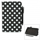 Tupfen-Muster Stilvolle PU Flip Open Case w / Stylus Pen für Kindle Fire HD 6 - Black + White