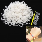 DIY Educational Weaving Silicone 600-Bands + S-Buckle Bracelet Set for Kids - White