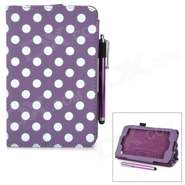Polka Dot Pattern Stylish PU Flip Open Case w/ Stylus Pen for Kindle Fire HD 6 - Purple + White for amazon 2017 new kindle fire hd 8 armor shockproof hybrid heavy duty protective stand cover case for kindle fire hd8 2017