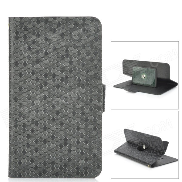 Universal Snakeskin Pattern PU Leather Case w/ 360-Degree Rotation Stand for 5.3~5.5 Phone - Black universal nylon cell phone holster blue black size l