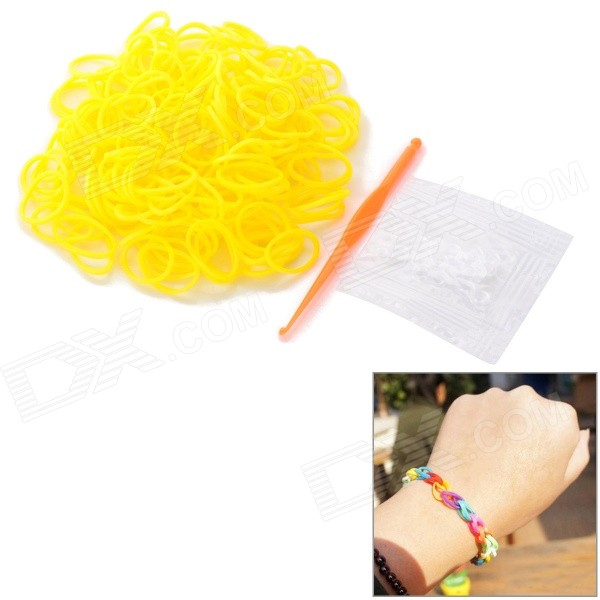 DIY Educational Weaving Silicone 200-Bands + S-Buckle Bracelet Set for Kids - Yellow security 4ch ahd m dvr 8ch realtime 1080p nvr video recorder multi mode