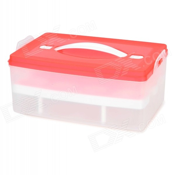 PP Home Dual-Layer 24-slot Egg Storage Box - Red + Transparent spark storage bag portable carrying case storage box for spark drone accessories can put remote control battery and other parts