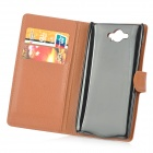 Protective PU Leather Case w/ Stand / Card Slots for Motorola Droid Turbo XT1254 - Brown