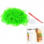 DIY Educational Weaving Silicone 300-Bands + S-Buckle Bracelet Set for Kids - Green