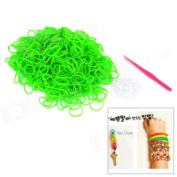 DIY Educational Weaving Silicone 600-Bands + S-Buckle Bracelet Set for Kids - Green
