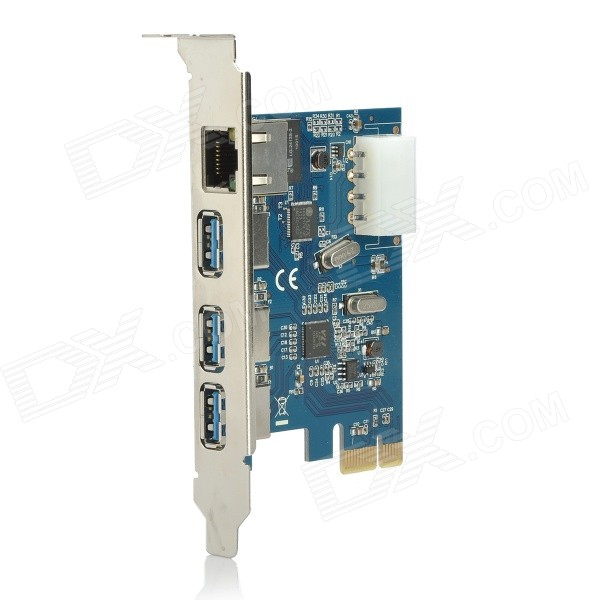 PCI-E Card USB + RJ45 1000Mbps Adaptador de red 3-Port 3.0