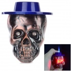 sysh0074 Cool Skull Head Style Zinc Alloy Butane Lighter - Deep Blue + Red Bronze