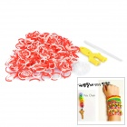 DIY Educational Weaving Silicone 300-Bands + S-Buckle Bracelet Set for Kids - White + Red
