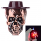 sysh0074 Cool Skull Head Style Zinc Alloy Butane Lighter - Brown + Red Bronze