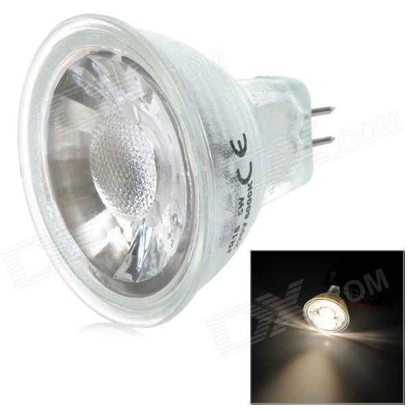 GX5.3 3W 380lm 3000K COB LED Warm White Light Spotlight - White + Silver (AC 220V)