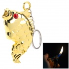 Fish Style Butane Gas Lighter w/ Keychain - Gold