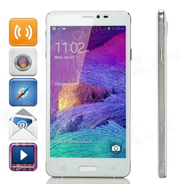 JIAKE V11 5.5 QHD Screen Android 4.2.2 Tablet PC w/ 4GB ROM, Wake-up Function - White jiake f1w 5 0inch capacitive touch screen mtk6572 dual core 1 2ghz smartphone 512mb 4gb 2 0mp 0 3mp android 4 2 os 3g gps with protective case black