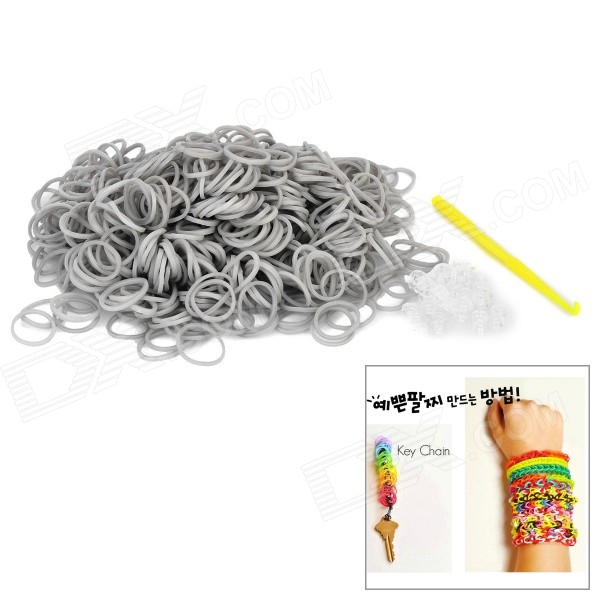 DIY Educational Weaving Silicone 600-Bands + S-Buckle Bracelet Set for Kids - Gray