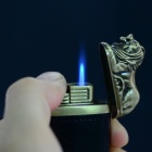 sysh0078 Creative Lion Shaped Zinc Alloy + PU Butane Lighter - Black + Golden