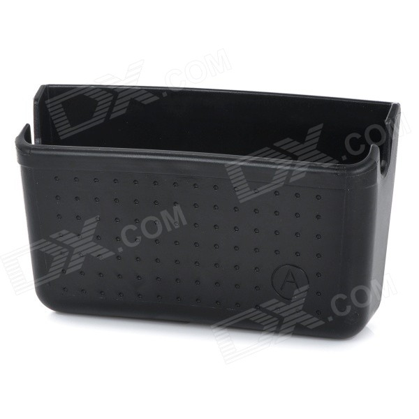 Car Mobile Phone Holder Storage Box Container w/ Sticker / Charging Holes - Black multifunctional car storage box container grey