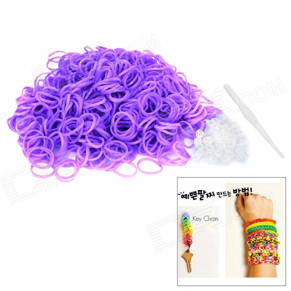 DIY Educational Weaving Silicone 600-Bands + S-Buckle Bracelet Set for Kids - Purple
