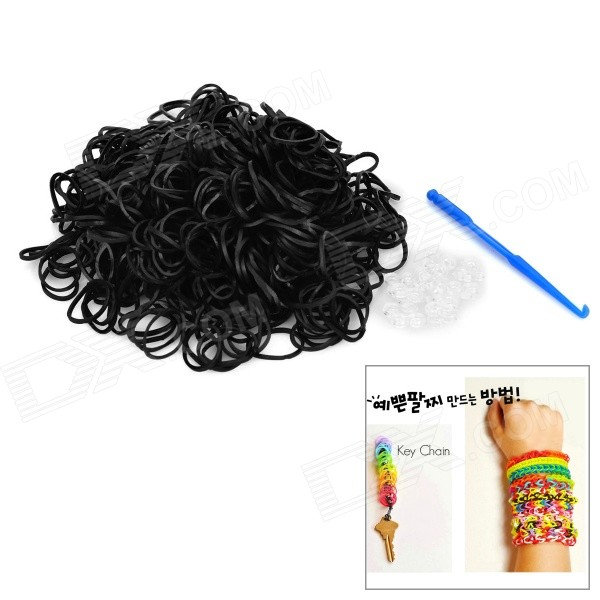 DIY Educational Weaving Silicone 600-Bands + S-Buckle Bracelet Set for Kids - Black