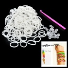 DIY Educational Weaving Silicone 200-Bands + S-Buckle Bracelet Set for Kids - White